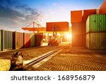 when the container terminal at... | Shutterstock . vector #168956879
