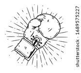boxing glove. hand drawn vector ... | Shutterstock .eps vector #1689575227
