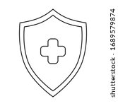 shield with cross isolated icon ... | Shutterstock .eps vector #1689579874