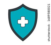 shield with cross isolated icon ... | Shutterstock .eps vector #1689580021
