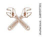 wrench illustration with hand... | Shutterstock .eps vector #1689597301
