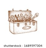 toolbox illustration with hand... | Shutterstock .eps vector #1689597304