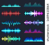 colored sound waves collection. ... | Shutterstock .eps vector #1689610864