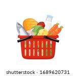 red grocery shopping basket... | Shutterstock .eps vector #1689620731