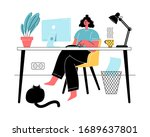 woman working from home during... | Shutterstock .eps vector #1689637801