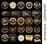 collection of golden badges and ... | Shutterstock . vector #1689646357