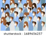 people in white medical face... | Shutterstock .eps vector #1689656257