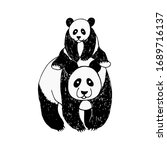 poster with a panda and its... | Shutterstock .eps vector #1689716137