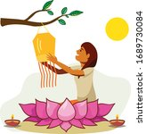 vesak day celebration with... | Shutterstock .eps vector #1689730084