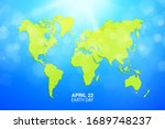 earth day banner. map of the... | Shutterstock .eps vector #1689748237