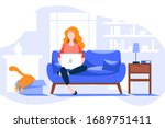 young woman at computer on... | Shutterstock .eps vector #1689751411
