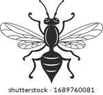 insect wasp  black wasp... | Shutterstock .eps vector #1689760081