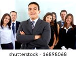 business man smiling leading a... | Shutterstock . vector #16898068