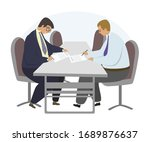 Contract Sign Up Flat Vector...