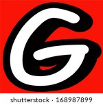 comic book g letter on red... | Shutterstock . vector #168987899