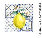 watercolor lemon greeting card  ... | Shutterstock . vector #1689889024