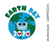 earth day 2020 text with earth...   Shutterstock .eps vector #1689922141