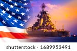 Small photo of Military parade of American troops. A warship with sailors on the deck against the background of the us flag. American fleet. The naval forces of America. Protection of the country's water borders.