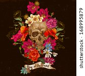 skull and flowers day of the... | Shutterstock .eps vector #168995879