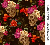 skull and flowers seamless... | Shutterstock .eps vector #168995891