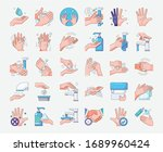hand wash protective icon set.... | Shutterstock .eps vector #1689960424