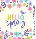 hello spring typography design... | Shutterstock .eps vector #1690069051