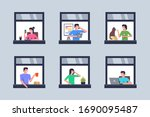 neighbors in windows. windows...   Shutterstock .eps vector #1690095487
