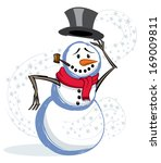 winter snow and snowman tipping ... | Shutterstock .eps vector #169009811