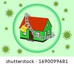 design lock home corona virus... | Shutterstock .eps vector #1690099681