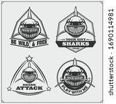 sport club emblems with sharks. ... | Shutterstock .eps vector #1690114981
