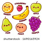 Cute Cartoon Fruits With Funny...