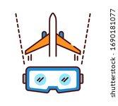 vr aviation color line icon....