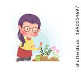 gardening planting flowers cute ... | Shutterstock .eps vector #1690254697