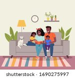 mother and father with children ... | Shutterstock .eps vector #1690275997