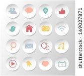 social media icons on paper... | Shutterstock .eps vector #169027871