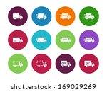 shopping trucks circle icons on ...
