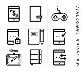 outline pad 9 vector icons set. ...