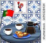 pastel de nata and coffee.... | Shutterstock .eps vector #1690328434