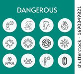 dangerous line icon set on... | Shutterstock .eps vector #1690349821