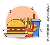 Combo Meal Menu Burger With...