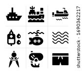 filled sea 9 vector icons set....