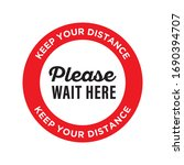 please wait here. keep your... | Shutterstock .eps vector #1690394707