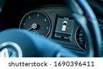 Cluj-Napoca,Cluj/Romania-07.01.2020: VW Tiguan facelift instrument cluster. In dash spedometer, rpm, odometer, vehicle illustration - stock photo