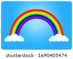 colored rainbow with clouds.... | Shutterstock .eps vector #1690405474