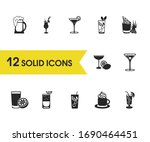 cocktails icons set with drink  ...