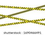 signal tape. yellow warning... | Shutterstock .eps vector #1690466491