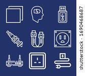 set of 9 plug outline icons... | Shutterstock . vector #1690468687