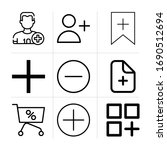 outline add 9 vector icons set. ...