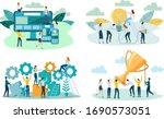 people enjoy success in... | Shutterstock .eps vector #1690573051