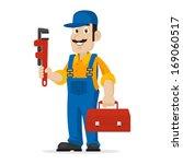 plumber holds an adjustable... | Shutterstock .eps vector #169060517